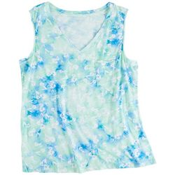 Dept 222 Womens Printed V-Neck Luxey Sleeveless Top