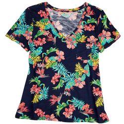 Dept 222 Womens Printed V-Neck Shirt