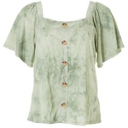 Dept 222 Womens Ruffle Tie Dye Short Sleeve Top