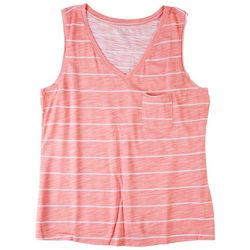 Dept 222 Womens Striped V-Neck Sleevless Tank