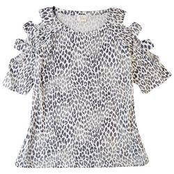 Ava James Womens Ribbed Leopard Cold Shoulder Top