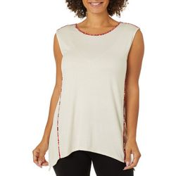 Womens Solid Floral Trim Cap Sleeve Top
