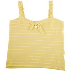 Dept 222 Womens Ruffle Sleeved Tank Top With Knot Front