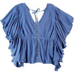 Dept 222 Womens Ruffle Tie Back Short Sleeve Top