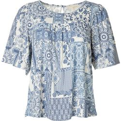 Dept 222 Womens Printed Short Sleeve Blouse
