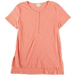 Ava James Womens Solid Short Sleeve Top With Buttons