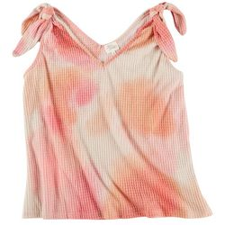 Ava James Womens Tye Dye Tank Top With Knot Sleeves