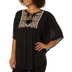 Studio West Womens Embroidered Tassel Detail Poncho Top