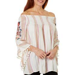 Womens Striped Floral Embellished Tassel Top