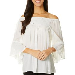 Studio West Off the Shoulder Embellished Bell Sleeve Top