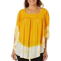 Womens Crochet Tie Dye Top