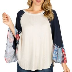 Blu Pepper Womens Floral Dolman Sleeve Waffle Knit Top