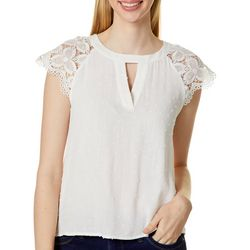 Blu Pepper Womens Solid Keyhole Lace Sleeve Top