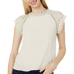 Blu Pepper Womens Solid Lace Cap Sleeve Top