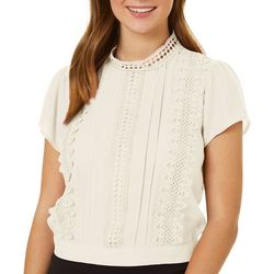 Blu Pepper Womens Solid Lace Detail Short Sleeve Top