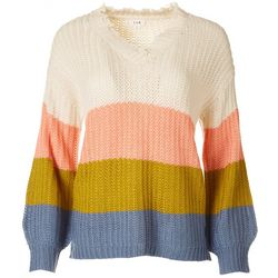 E&M Womens Striped Long Sleeve Knit Sweater
