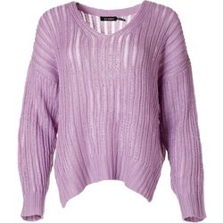 Blu Pepper Womens Solid Cable Knit Sweater