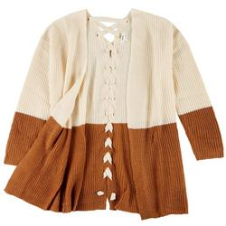 Womens Colorblock Knit Cardigan