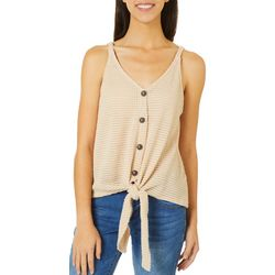 Blu Pepper Womens Solid Tie Front Button Down Tank  Top