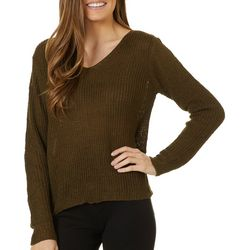 Blu Pepper Womens Solid Twist Detail Long Sleeve Sweater