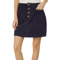 Blu Pepper Womens Solid Corduroy Button Front Skirt