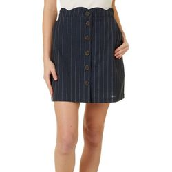 Blu Pepper Womens Striped Scallop Edge Skirt