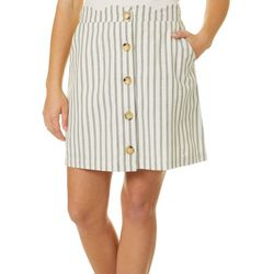 Blu Pepper Womens Double Striped Scallop Edge Skirt
