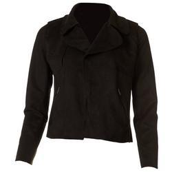 by Blu Pepper Womens Faux Suede Moto Jacket