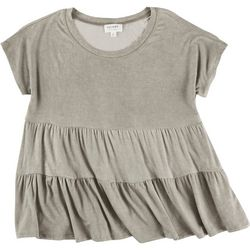 Escape Womens Solid Tiered Top