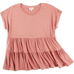 Escape Womens Solid Tiered Short Sleeve Top