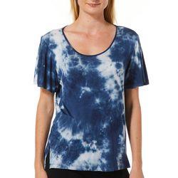 Alkamy Womens Tie Dye Pleated Short Sleeve Top