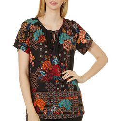 Alkamy Womens Patchwork Print Short Sleeve Top