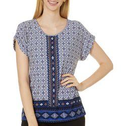 Alkamy Womens Tile Print Short Sleeve Top