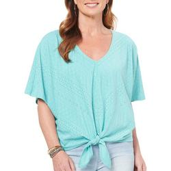 Womens Solid Tie Front Textured Top