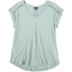 Democracy Womens Solid Tee Lace Detail Short Sleeve Top