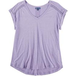 Womens Solid Tee Lace Detail Short Sleeve Top