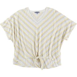 Democracy Womens Striped Tie Front Short Sleeve Top