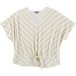 Womens Striped Tie Front Short Sleeve Top