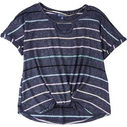 Democracy Womens Striped Short Sleeve Top With Knot Detail