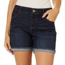 Dept 222 Womens Flexi Fit Roll Cuff Denim Shorts