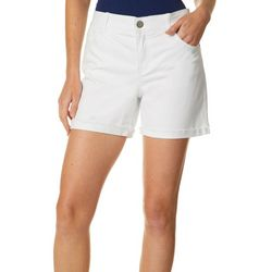 Dept 222 Womens Whiskered Denim Roll Cuff Shorts