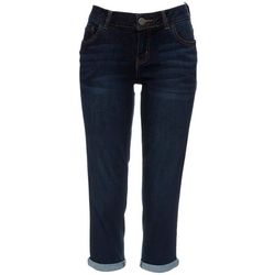 Dept 222 Womens Solid Cropped Roll Cuff Jeans