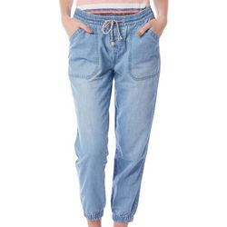 Royalty Womens Solid Drawstring Denim Joggers