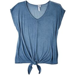 Cable & Gauge Womens Solid Color Tie Front Top