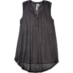 CG Sport Womens Solid Button Smocking Tank Top