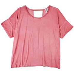 Cable & Gauge Womens Solid Color Short Sleeve Top