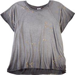 CG Sport Womens Stars Metallic Short Sleeve Top