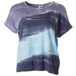 Cable & Gauge Womens Tie Dye Cuffed Short Sleeve Top