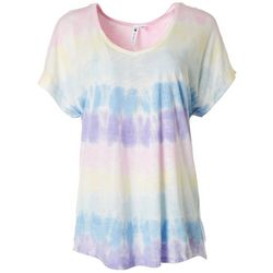 Cable & Gauge Womens Tie Dye Cuffed V-Neck Top