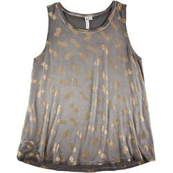 Cable & Gauge Womens Gold Pineapple Sleeveless Top